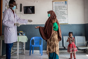 Patients at a health clinic in Mogadishu