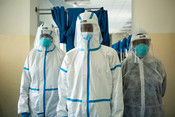 Workers in PPE at De Martini hospital in Mogadishu