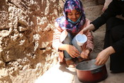 Malak learns to wash her hands in Taiz