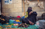 Taghreed selling vegetables in an IDP Camp in Yemen