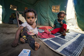 Abeer* & Muna* pose for a picture in an IDP Camp in Yemen