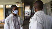 Dr Massinga wearing a mask made by a local tailor in a hospital in Kinshasa