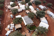 An aerial picture shows Zaitoun Maarshurin displacement camp